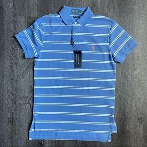 (NWT) Ralph Lauren Blue White Striped Polo Shirt S